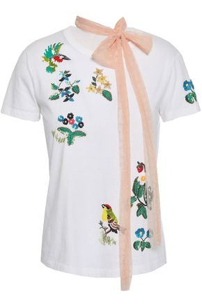 REDValentino Embellished point d'esprit and cotton-jersey T-shirt