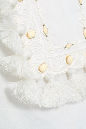 e6666ceb7fd ... TORY BURCH Tasseled embroidered cotton-gauze top ...
