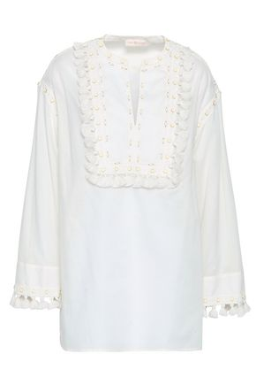 TORY BURCH Tasseled embroidered cotton-gauze top