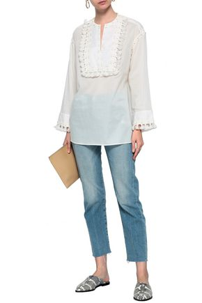 71de5462125db TORY BURCH Tasseled embroidered cotton-gauze top