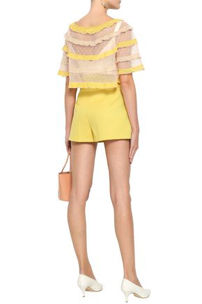 REDValentino Ruffle-trimmed cropped point d'esprit top