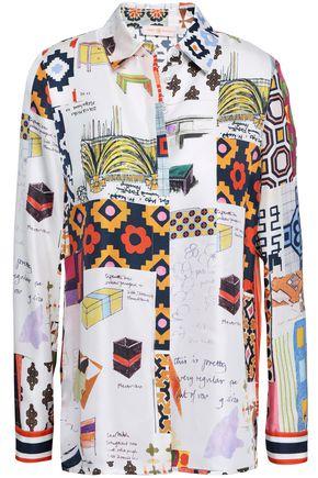 TORY BURCH Pussy-bow printed silk-twill shirt