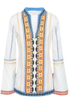 TORY BURCH Embroidered cotton-gauze top