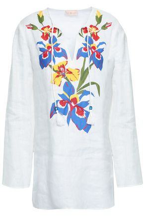 TORY BURCH Appliquéd linen coverup