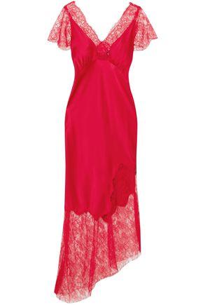 HANEY Felicia asymmetric lace-paneled stretch-silk satin midi dress