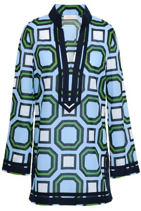TORY BURCH Woven-trimmed printed cotton-mousseline coverup