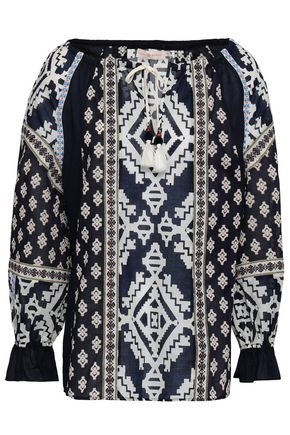 TORY BURCH Printed cotton-poplin blouse