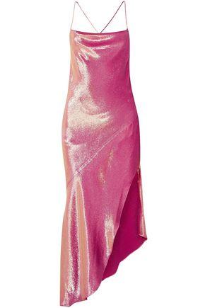 HANEY Asymmetric metallic silk-blend mini dress