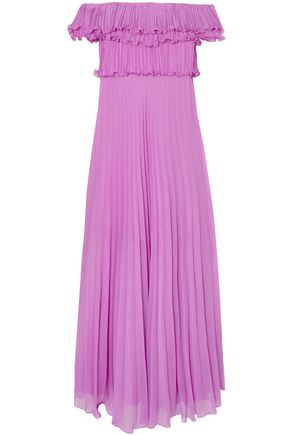HALSTON HERITAGE Off-the-shoulder plissé-georgette gown