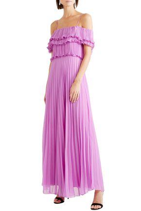 HALSTON HERITAGE Off-the-shoulder plissé-georgette gown