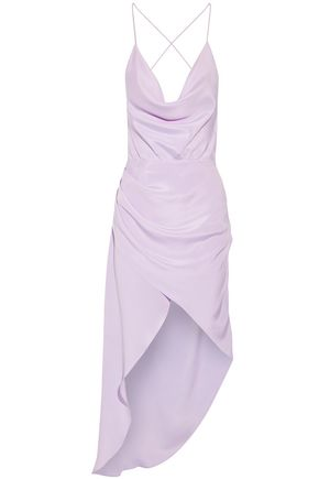 HANEY Holly asymmetric draped silk crepe de chine dress