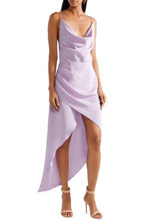HANEY Holly asymmetric draped silk crepe de chine dress