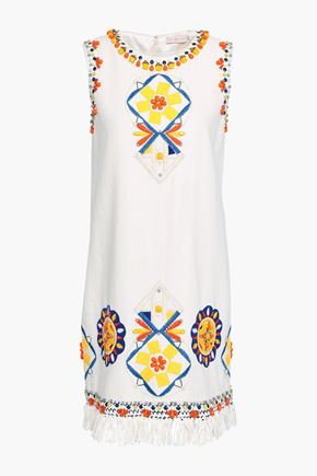 TORY BURCH Embellished linen mini dress