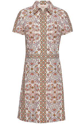 TORY BURCH Printed cotton-poplin mini shirt dress
