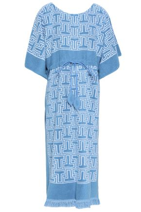 TORY BURCH Fringed cotton-terry jacquard midi dress