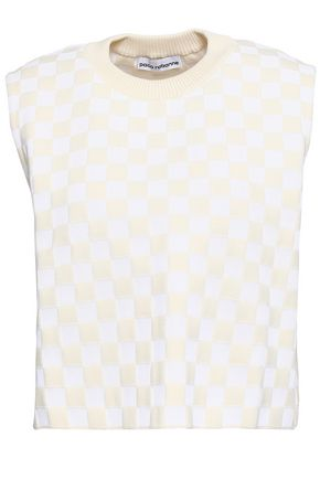 PACO RABANNE Checked cotton-blend jacquard top