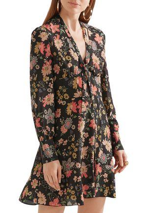 REDValentino Floral-print silk crepe de chine mini dress