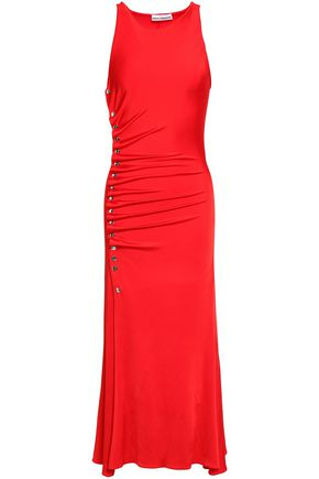 PACO RABANNE Snap-detailed ruched stretch-jersey midi dress