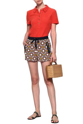 TORY BURCH Zip-detailed printed cotton-terry shorts