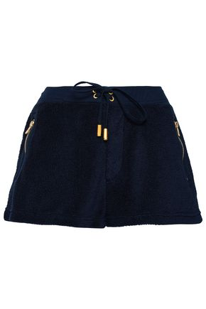 TORY BURCH Zip-detailed cotton-blend terry shorts