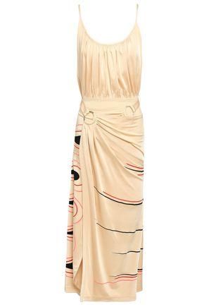 PACO RABANNE Wrap-effect printed stretch-jersey mini dress