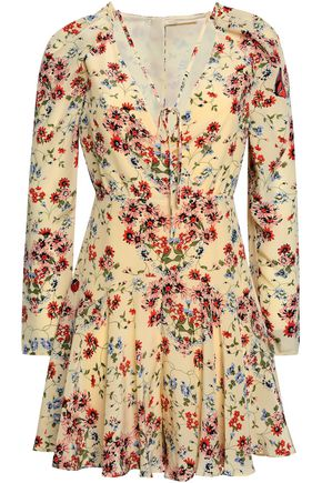 MAJE Cutout floral-print silk playsuit
