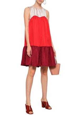 PAPER London Color-block satin-crepe mini dress