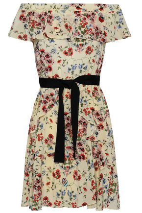 MAJE Off-the-shoulder floral-print silk crepe de chine mini dress