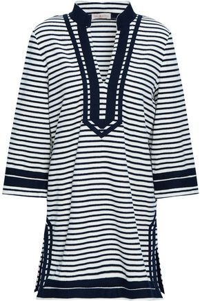 TORY BURCH Striped cotton-blend terry top