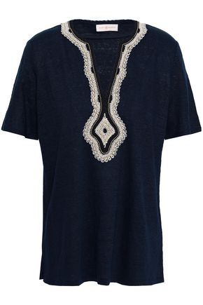TORY BURCH Appliquéd linen-jersey top