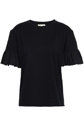 MAJE Poplin-paneled cotton-jersey T-shirt