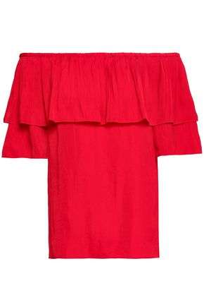 MAJE Locao off-the-shoulder ruffled poplin top