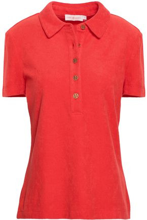 TORY BURCH Button-detailed cotton-terry polo shirt