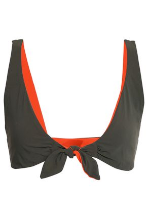 TORY BURCH Knotted two-tone triangle bikini top