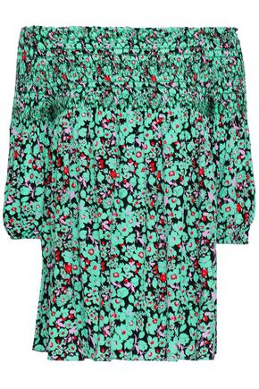 MAJE Lafine off-the-shoulder floral-print crepe de chine top