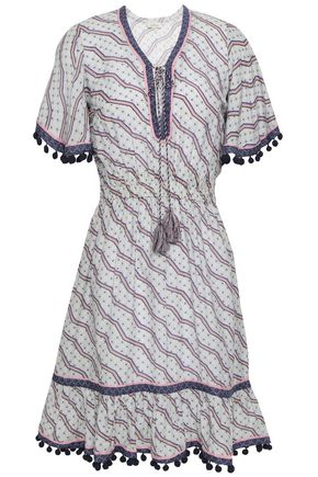 TALITHA Pompom-trimmed printed cotton and silk-blend dress