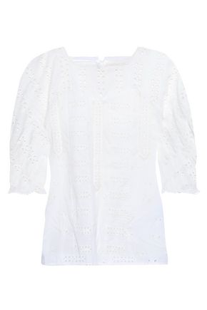 MAJE Broderie anglaise cotton top