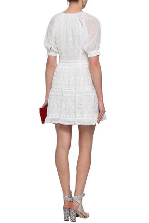 MAJE Revery broderie anglaise voile mini dress