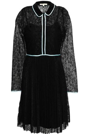 MAJE Satin-trimmed lace mini dress