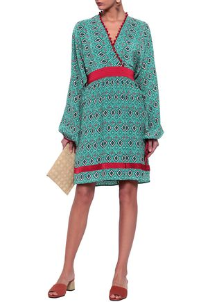 TALITHA Pompom-trimmed wrap-effect silk crepe de chine dress