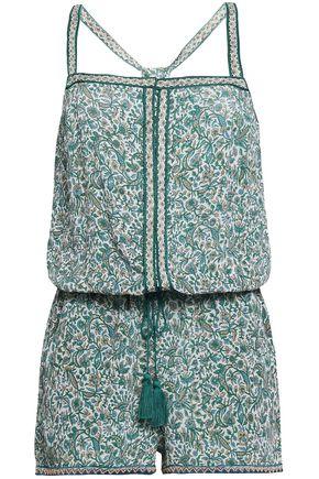 TALITHA Embellished printed silk playsuit