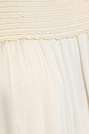 HALSTON HERITAGE Shirred crepe de chine mini dress