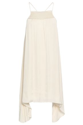 HALSTON HERITAGE Shirred crepe de chine mini dress