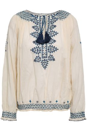 TALITHA Embroidered cotton-mousseline blouse
