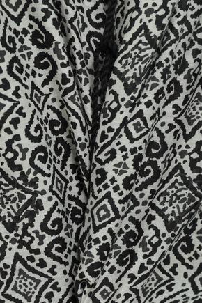 TALITHA Tasseled printed silk-gauze playsuit