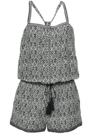 TALITHA Tasseled printed silk-gauze playsuit
