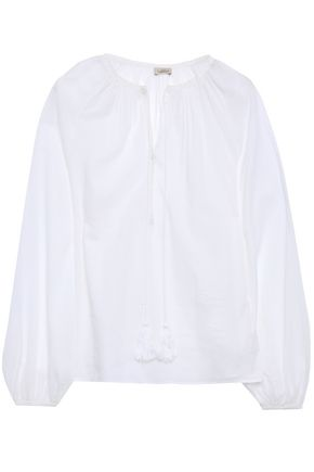 TALITHA Gathered cotton-mousseline blouse