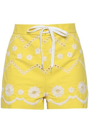 REDValentino Lace-up broderie anglaise cotton shorts