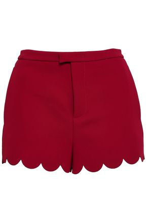 REDValentino Scalloped satin-crepe shorts