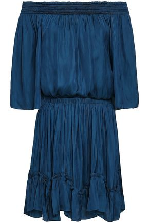 HALSTON HERITAGE Off-the-shoulder ruched satin mini dress